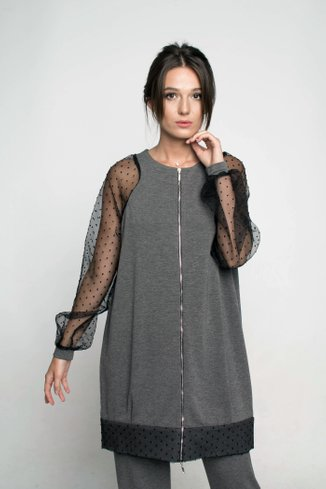Knitted tunic with organza sleeve Ganveri gray