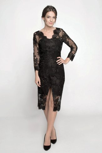 Evening dress with lace Ganveri Black