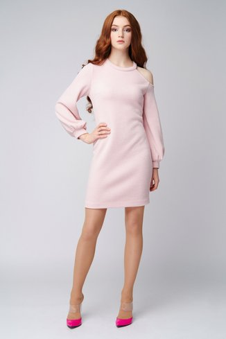 Peach knit dress with open shoulder Ganveri Peach