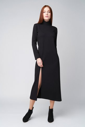 Transforming dress with a slit on the leg Ganveri Black