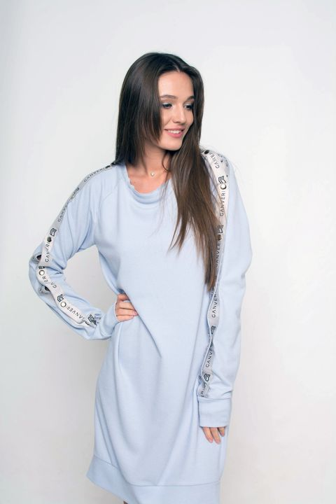 Knitted raglan-dress with buttons Ganveri Blue