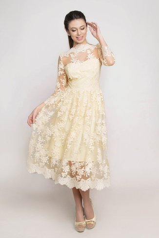 Evening dress with lace Ganveri Yellow